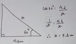 The angle of elevation of a ladder leaning against a wall is 60 and the foot of the ladder is 4.6 m away from the wall